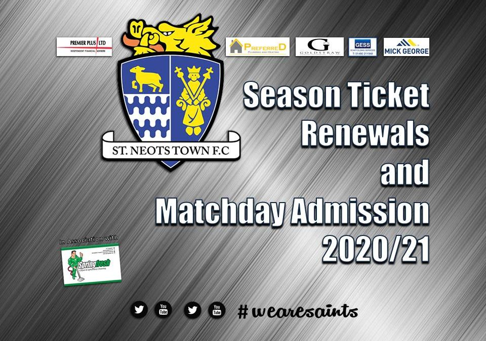 Season Ticket Renewals and General Admission Details