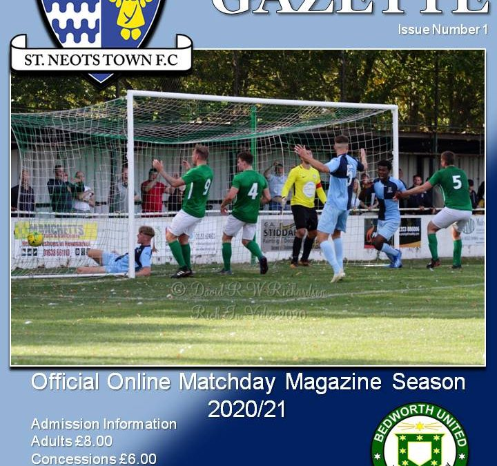 2020/21 Matchday Gazette – St Neots Town vs Bedworth United – Issue One