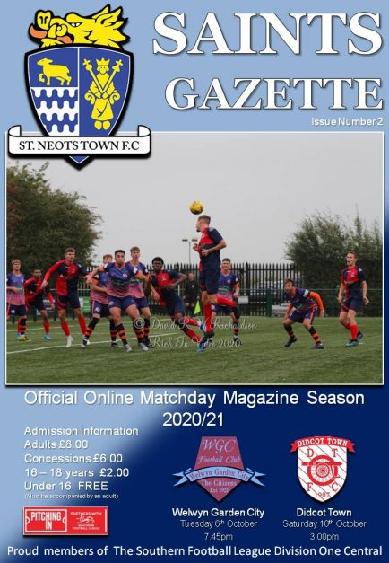 2020/21 Matchday Gazette – St Neots Town vs Welwyn GC / Didcot Town –  Issue Two
