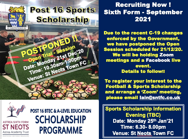 Scholarship Open Day Update…….Zoom meetings and Facebook Meetings to follow