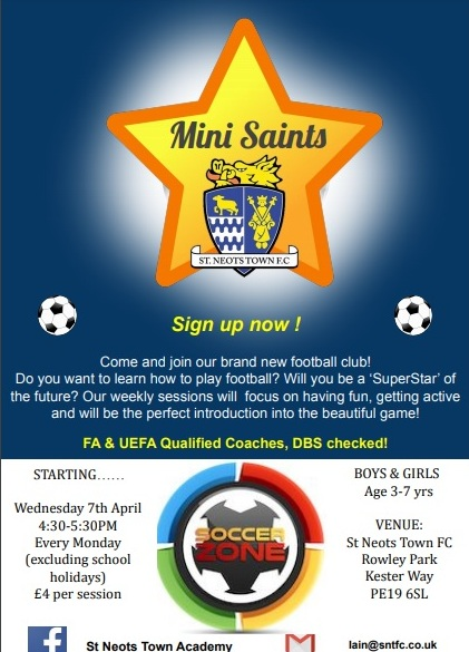 Mini Saints – A great way for 3-7 year old boys and girls to GET INTO FOOTBALL !