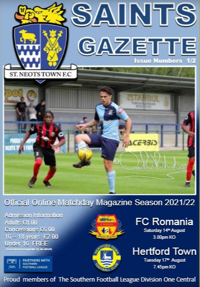 2021/22 St Neots Town FC v FC Romania/Hertford Town Matchday Gazette Double Issue 1/2