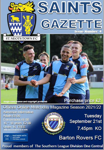 2021/22 St Neots Town v Barton Rovers Matchday Gazette Issue 4